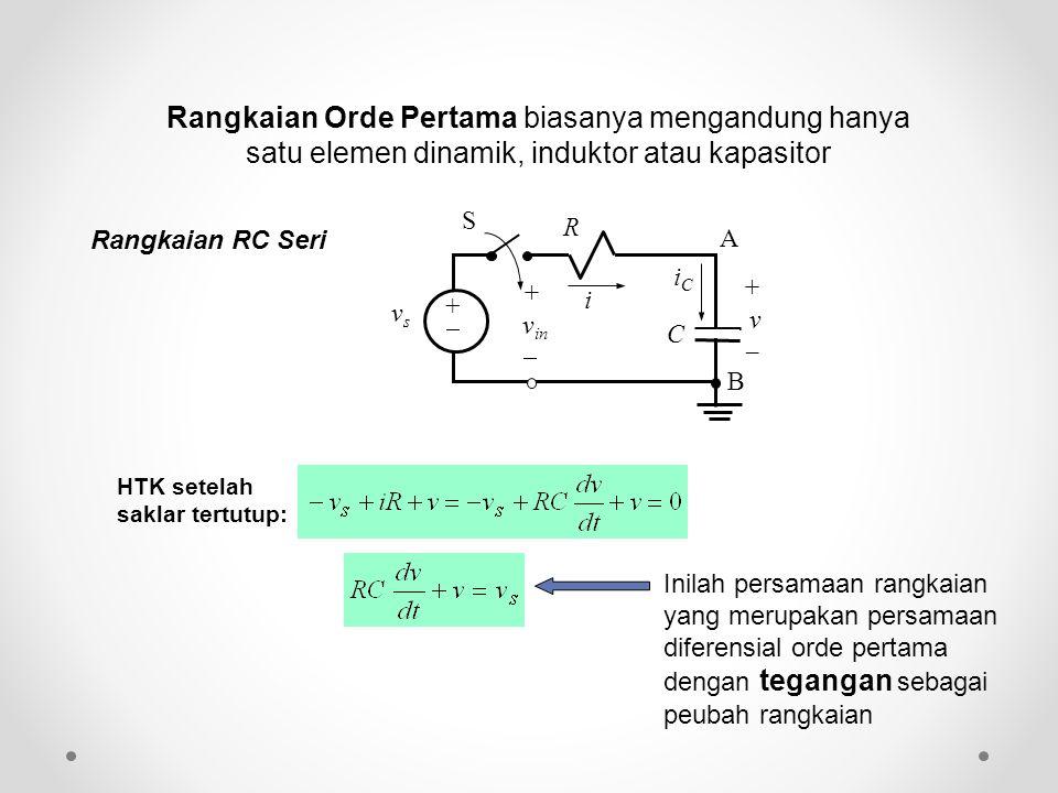 Rangkaian Orde Pertama biasanya mengandung hanya satu elemen dinamik, induktor atau kapasitor HTK setelah saklar tertutup: Inilah persamaan rangkaian