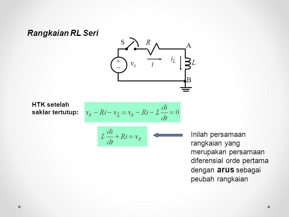 Inilah persamaan rangkaian yang merupakan persamaan diferensial orde pertama dengan arus sebagai peubah rangkaian HTK setelah saklar tertutup: Rangkai