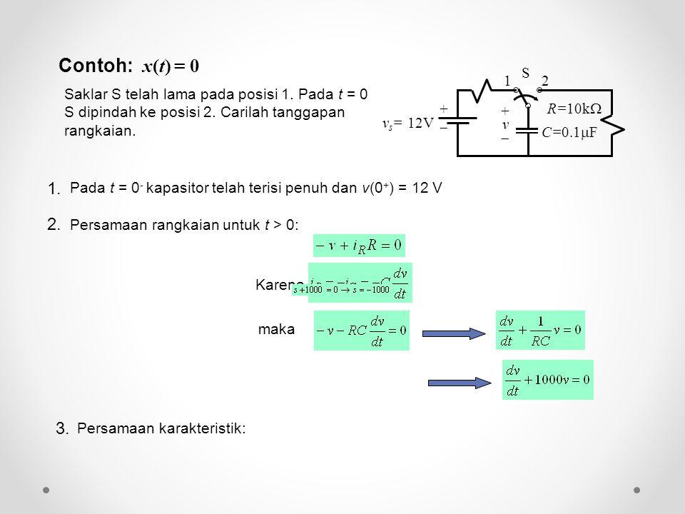 Contoh: x(t) = 0 Saklar S telah lama pada posisi 1. Pada t = 0 S dipindah ke posisi 2. Carilah tanggapan rangkaian. Karena maka Pada t = 0 - kapasitor