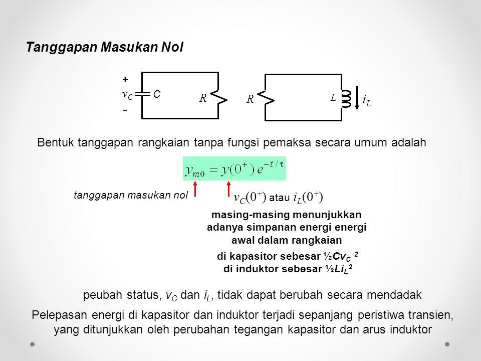 Bentuk tanggapan rangkaian tanpa fungsi pemaksa secara umum adalah tanggapan masukan nol peubah status, v C dan i L, tidak dapat berubah secara mendad