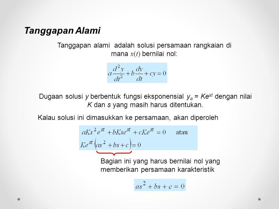 Tanggapan alami adalah solusi persamaan rangkaian di mana x(t) bernilai nol: Dugaan solusi y berbentuk fungsi eksponensial y a = Ke st dengan nilai K