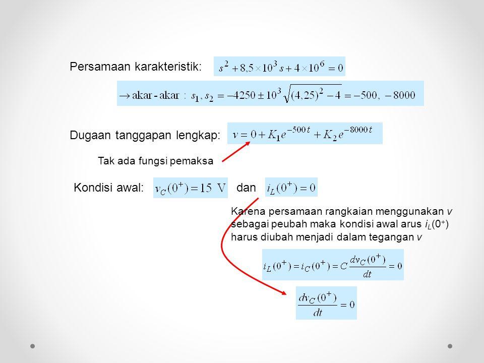 Kondisi awal: Karena persamaan rangkaian menggunakan v sebagai peubah maka kondisi awal arus i L (0 + ) harus diubah menjadi dalam tegangan v Tak ada