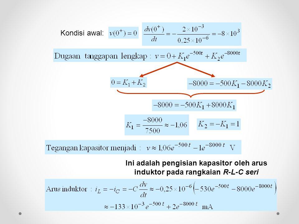 Ini adalah pengisian kapasitor oleh arus induktor pada rangkaian R-L-C seri Kondisi awal: