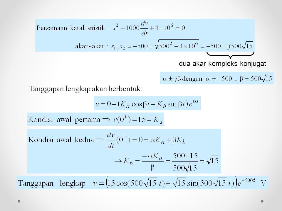 dua akar kompleks konjugat Tanggapan lengkap akan berbentuk:
