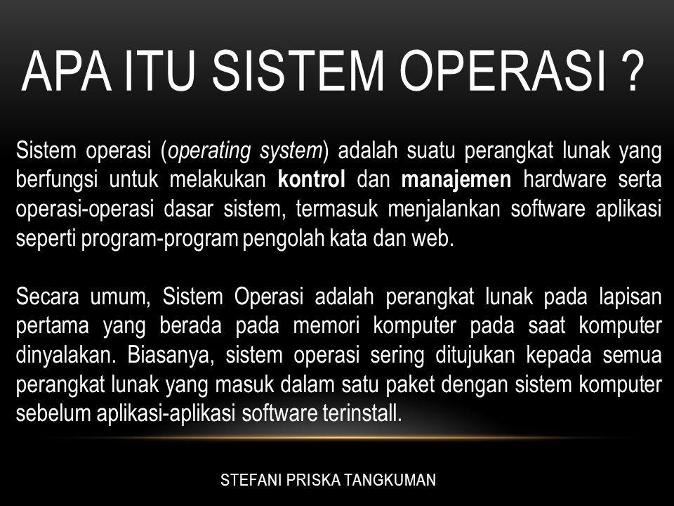 FUNGSI SISTEM OPERASI Apabila sistem komputer terbagi dalam lapisan-lapisan, maka Sistem Operasi adalah penghubung antara lapisan hardware dan lapisan software.
