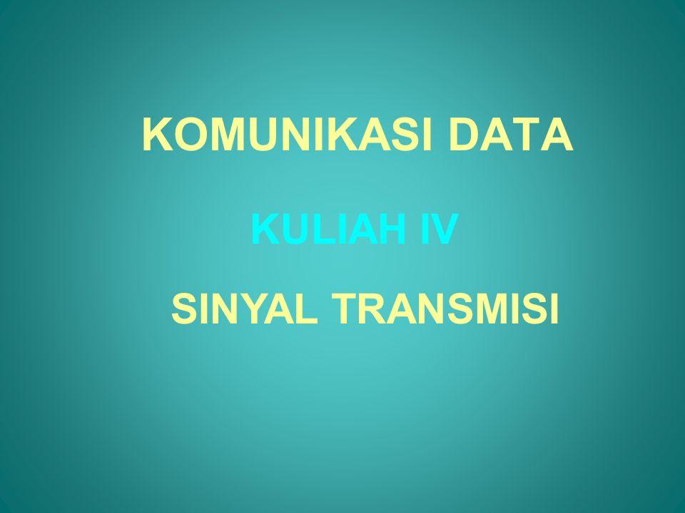 DATA DAN SINYAL •Data adalah sesuatu yang mempunyai arti, mis: file komputer, musik pada CD •Sinyal adalah representasi elektrikal ataupun elektromagnetic dari data mis: percakapan telepon •Sistem komunikasi data/suara ataupun jaringan komputer mengirimkan sinyal •Sinyal bisa berupa analog ataupun digital