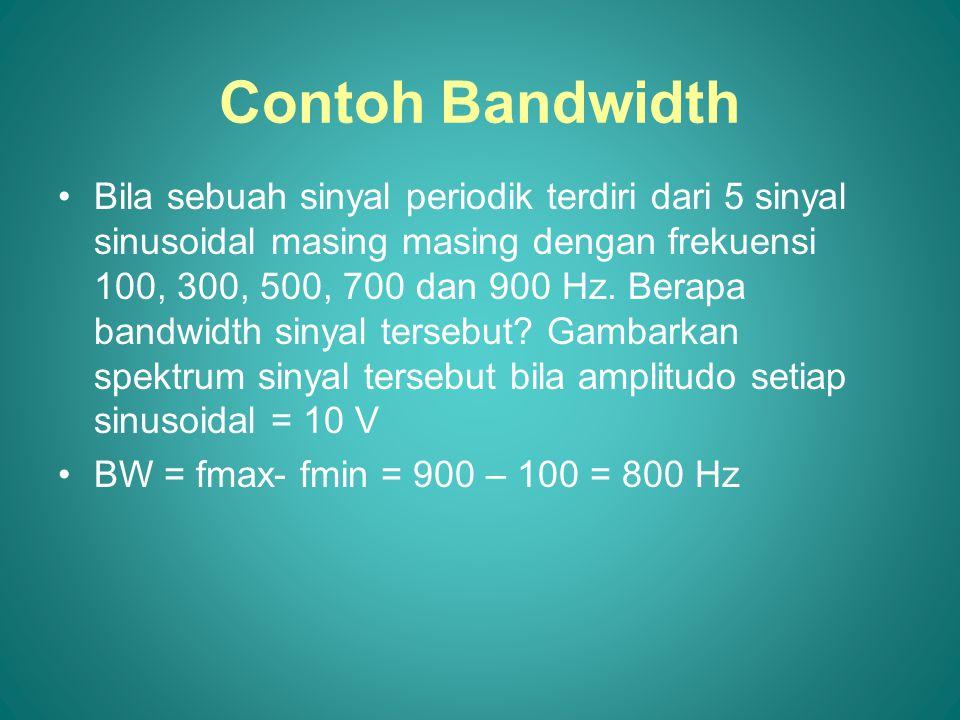 Contoh Bandwidth •Bila sebuah sinyal periodik terdiri dari 5 sinyal sinusoidal masing masing dengan frekuensi 100, 300, 500, 700 dan 900 Hz. Berapa ba