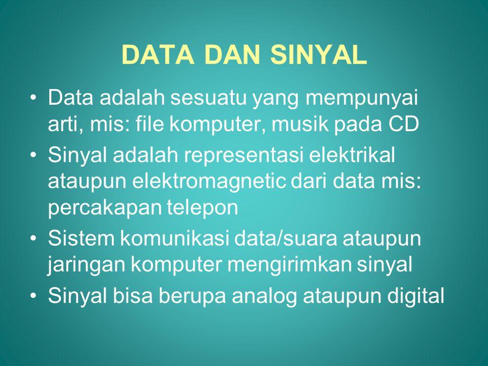 DATA DAN SINYAL •Data adalah sesuatu yang mempunyai arti, mis: file komputer, musik pada CD •Sinyal adalah representasi elektrikal ataupun elektromagn