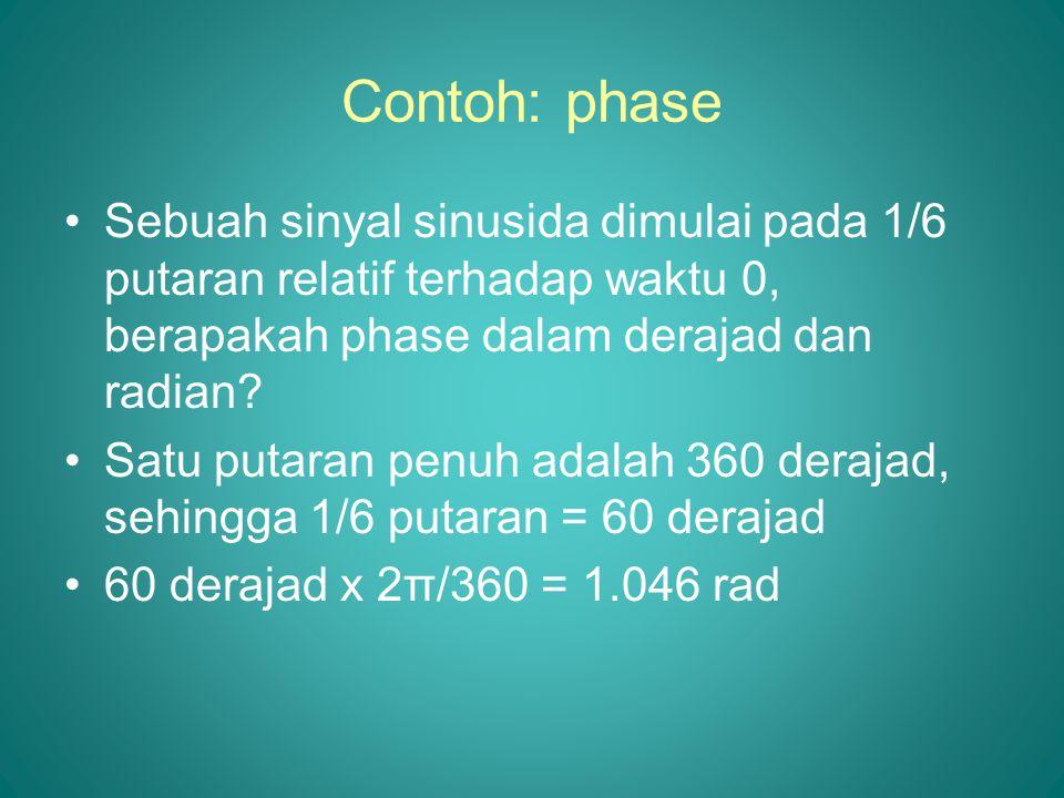 Contoh: phase •Sebuah sinyal sinusida dimulai pada 1/6 putaran relatif terhadap waktu 0, berapakah phase dalam derajad dan radian? •Satu putaran penuh