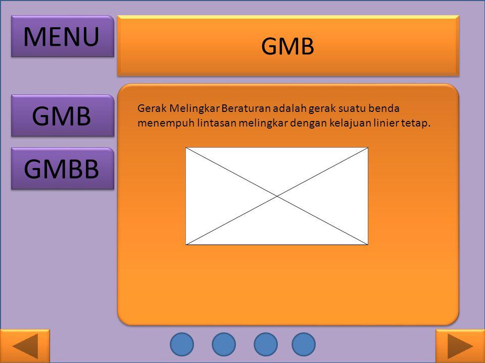 GMB MENU GMB GMBB Gerak Melingkar Beraturan adalah gerak suatu benda menempuh lintasan melingkar dengan kelajuan linier tetap.