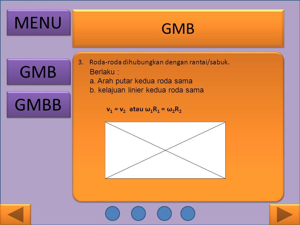 GMB 3.Roda-roda dihubungkan dengan rantai/sabuk. Berlaku : a. Arah putar kedua roda sama b. kelajuan linier kedua roda sama v 1 = v 2 atau ω 1 R 1 = ω
