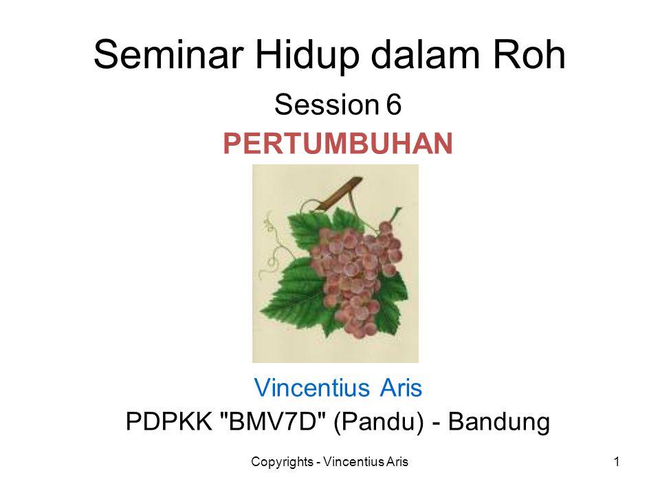 Copyrights - Vincentius Aris1 Seminar Hidup dalam Roh Session 6 PERTUMBUHAN Vincentius Aris PDPKK
