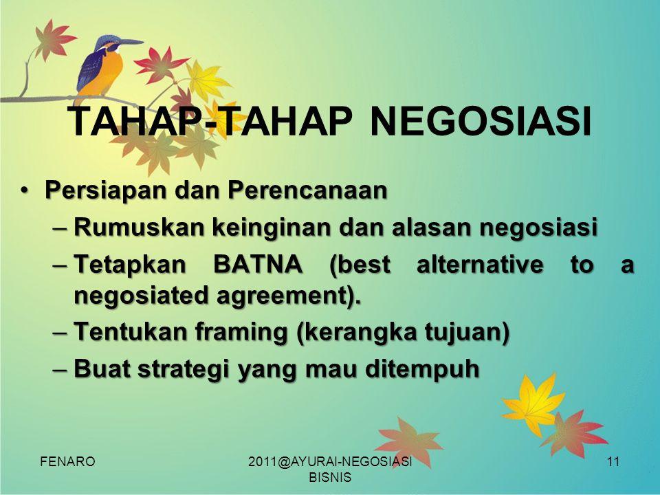 FENARO TAHAP-TAHAP NEGOSIASI •Persiapan dan Perencanaan –Rumuskan keinginan dan alasan negosiasi –Tetapkan BATNA (best alternative to a negosiated agr