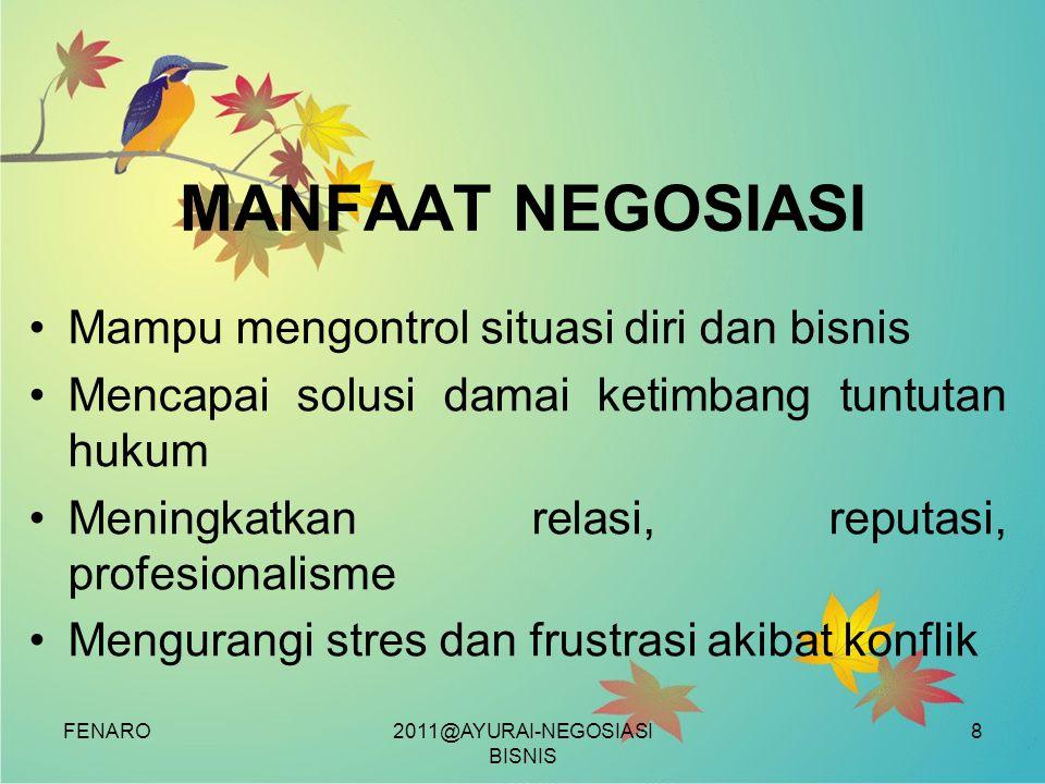 FENARO MANFAAT NEGOSIASI •Mampu mengontrol situasi diri dan bisnis •Mencapai solusi damai ketimbang tuntutan hukum •Meningkatkan relasi, reputasi, pro