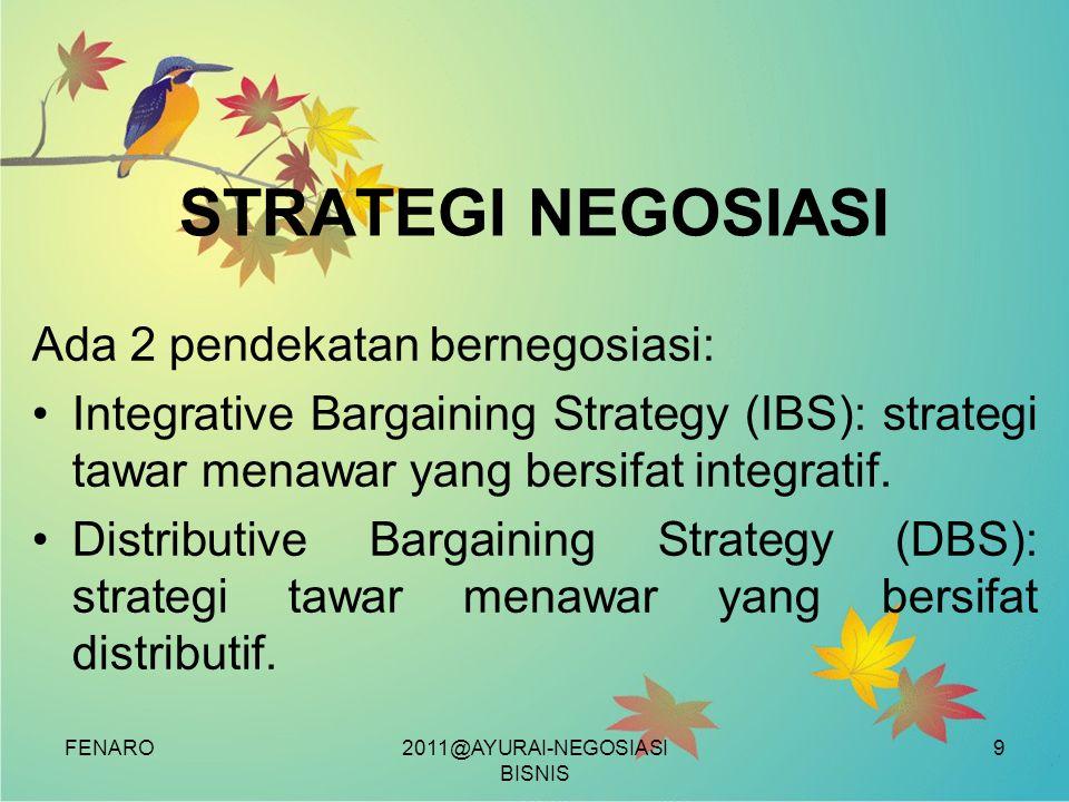 FENARO STRATEGI NEGOSIASI Ada 2 pendekatan bernegosiasi: •Integrative Bargaining Strategy (IBS): strategi tawar menawar yang bersifat integratif. •Dis