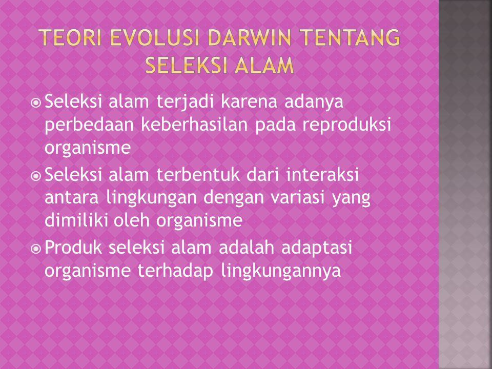 " Karya Darwin dalam buku yang berjudul "" On the Origin of the Species by Means of Natural Selections"", yang terbit pada tanggal 24 Nopember 1859, set"