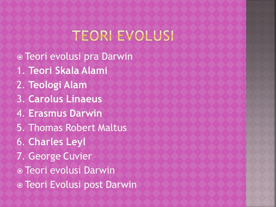 TTeori evolusi pra Darwin 1.Teori Skala Alami 2.