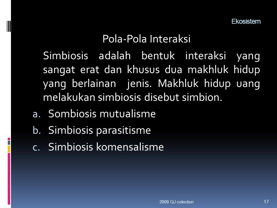 Ekosistem Pola-Pola Interaksi Simbiosis adalah bentuk interaksi yang sangat erat dan khusus dua makhluk hidup yang berlainan jenis.