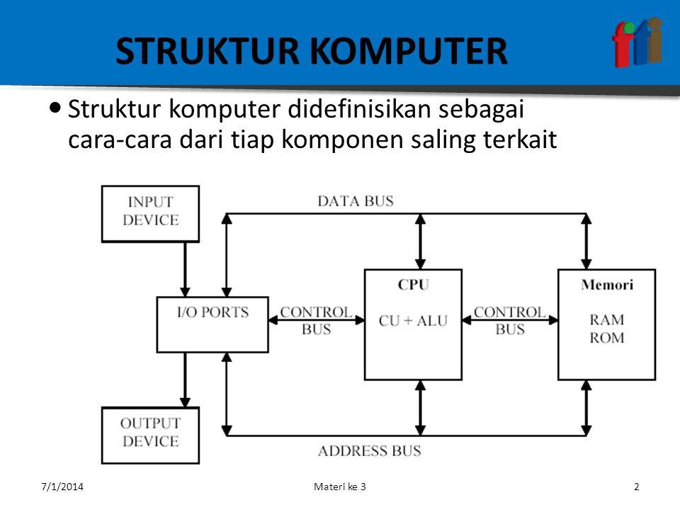 STRUKTUR KOMPUTER  Struktur komputer didefinisikan sebagai cara-cara dari tiap komponen saling terkait 7/1/2014Materi ke 32