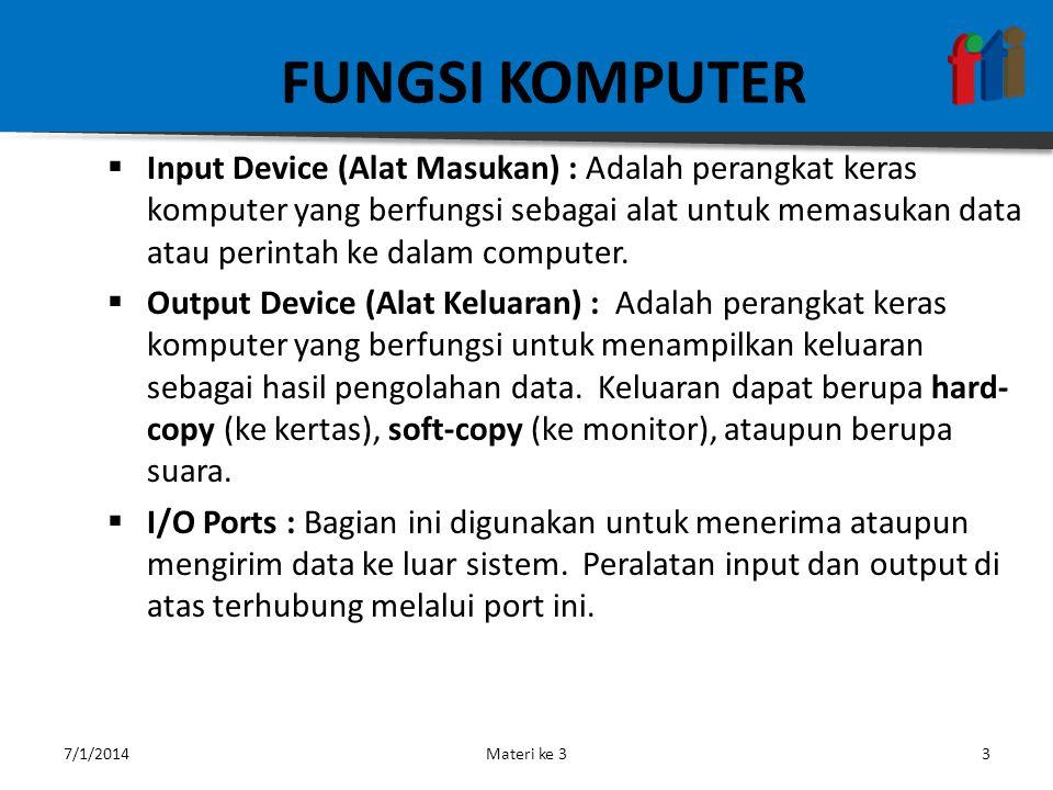 FUNGSI KOMPUTER  Input Device (Alat Masukan) : Adalah perangkat keras komputer yang berfungsi sebagai alat untuk memasukan data atau perintah ke dalam computer.