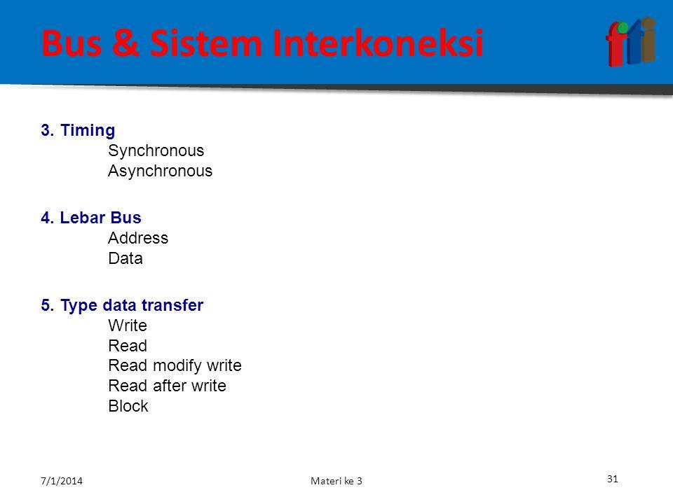30 Bus & Sistem Interkoneksi Elemen – elemen pada sistem perancangan Bus : 1.