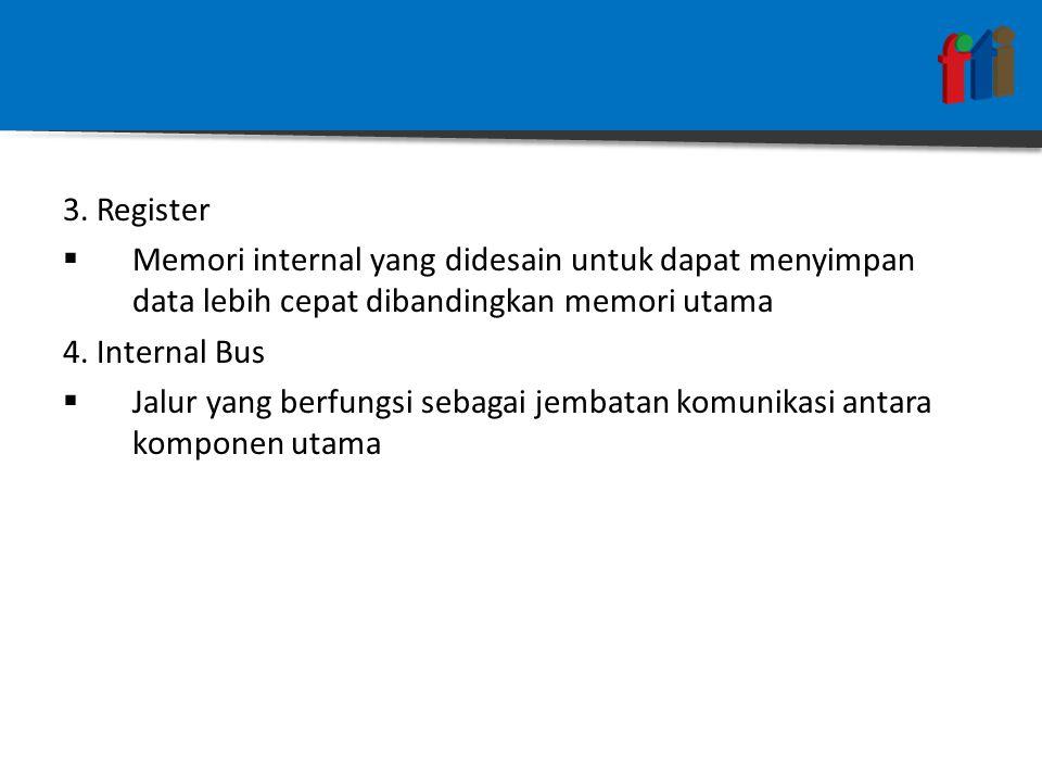 CONTROL REGISTER 1.Program Counter (PC)  Berisi alamat instruksi yang akan diambil 2.