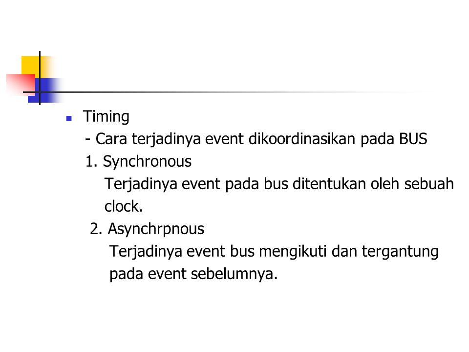  Timing - Cara terjadinya event dikoordinasikan pada BUS 1. Synchronous Terjadinya event pada bus ditentukan oleh sebuah clock. 2. Asynchrpnous Terja