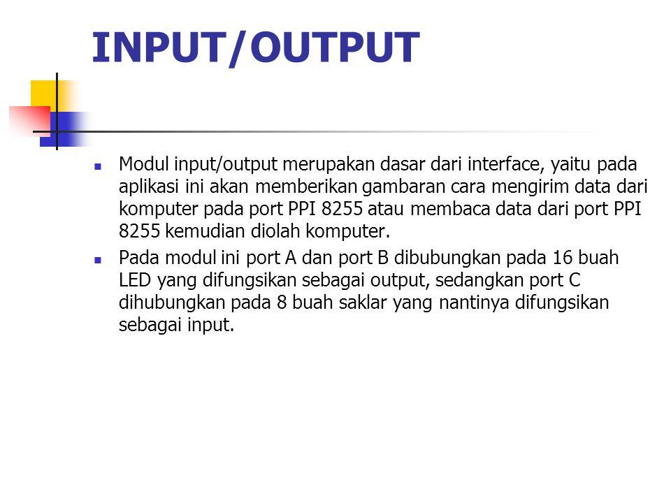 INPUT/OUTPUT  Modul input/output merupakan dasar dari interface, yaitu pada aplikasi ini akan memberikan gambaran cara mengirim data dari komputer pa