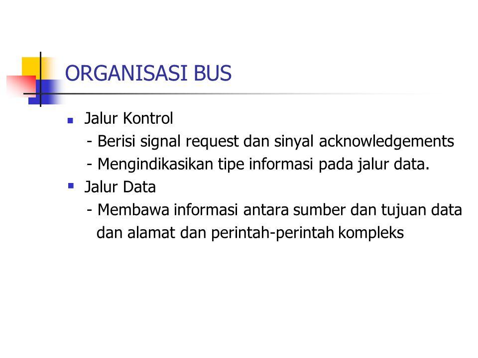 ORGANISASI BUS  Jalur Kontrol - Berisi signal request dan sinyal acknowledgements - Mengindikasikan tipe informasi pada jalur data.  Jalur Data - Me