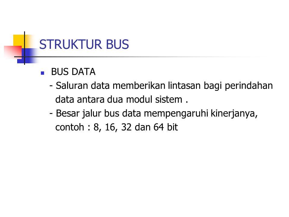  BUS ALAMAT - Identifikasi sumber atau tujuan data pada bus data - Mengalamati port-port I/O - Contoh : jika CPU akan membaca word ( 8, 16 atau 32 bit) data dari memori maka CPU akan menaruh alamat word yang dimaksud pada saluran alamat