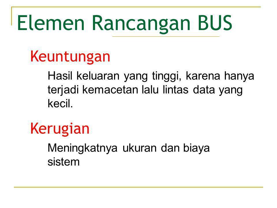 Elemen Rancangan BUS Metode penggunaan saluran yang sama untuk berbagai keperluan.