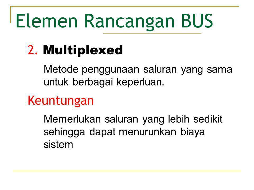 Elemen Rancangan BUS Rangkaian lebih kompleks di dalam setiap modul sehingga mengakibatkan penurunan kinerja karena event-event tertentu menggunakan saluran secara bersama-sama.