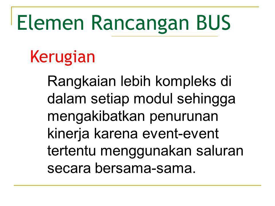 Elemen Rancangan BUS • Metode Arbitrasi Metode yang mengontrol penggunaan BUS secara bersama-sama dengan memproses setiap request dari perangkat yang akan menggunakan sistem BUS.