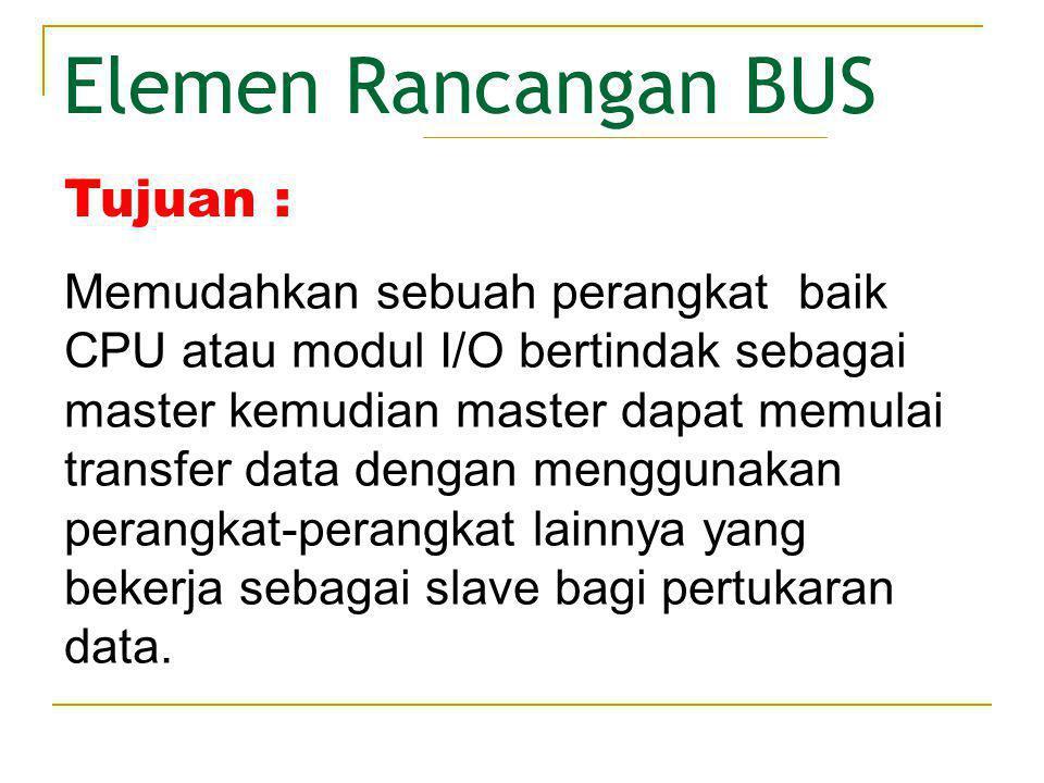 Elemen Rancangan BUS • Timing Pewaktu BUS mentransmisikan rangkaian bilangan 1 dan 0 dalam durasi yang sama.