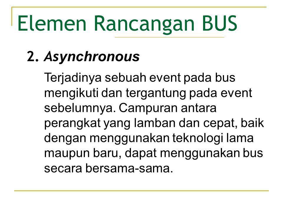 • Lebar BUS Elemen Rancangan BUS Semakin lebar bus data, maka semakin besar bit yang dapat ditransferkan pada suatu saat dan semakin lebar bus alamat, maka semakin besar range lokasi yang dapat direferensi.