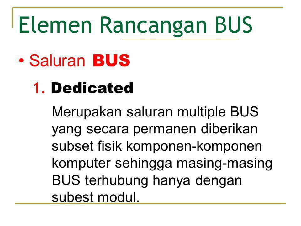 Elemen Rancangan BUS Hasil keluaran yang tinggi, karena hanya terjadi kemacetan lalu lintas data yang kecil.