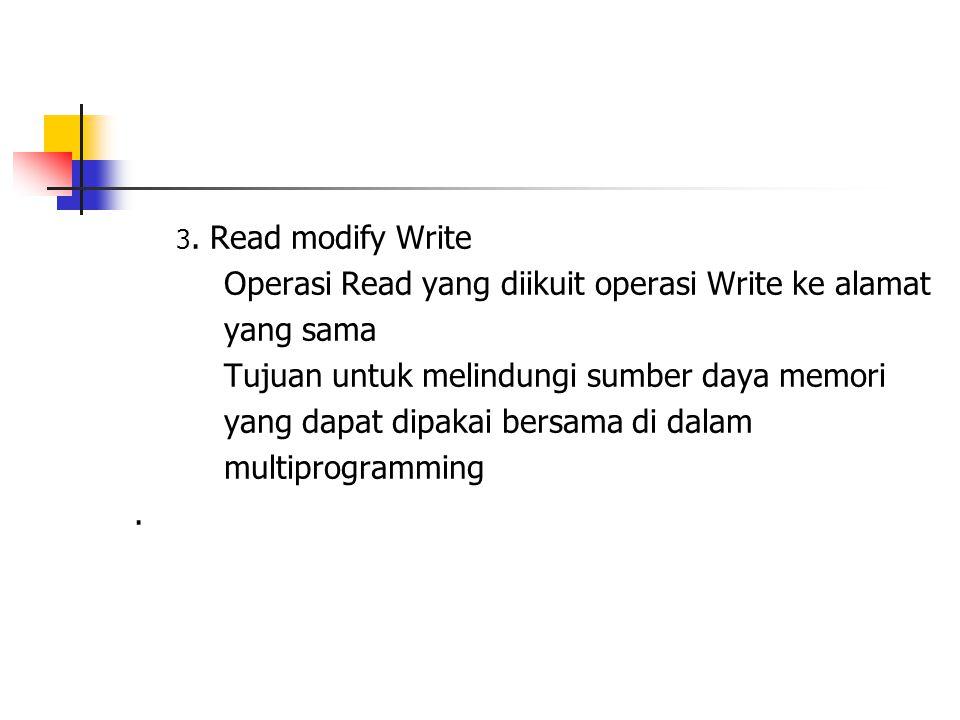 3. Read modify Write Operasi Read yang diikuit operasi Write ke alamat yang sama Tujuan untuk melindungi sumber daya memori yang dapat dipakai bersama