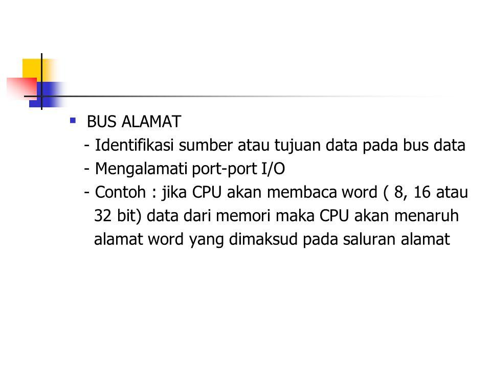  BUS ALAMAT - Identifikasi sumber atau tujuan data pada bus data - Mengalamati port-port I/O - Contoh : jika CPU akan membaca word ( 8, 16 atau 32 bi