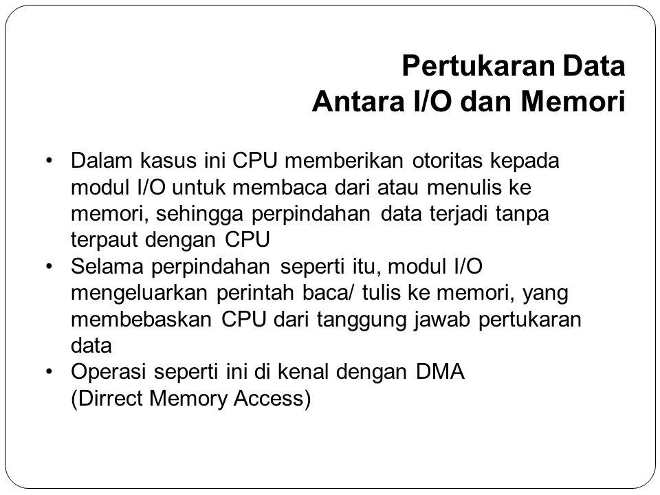 • Dalam kasus ini CPU memberikan otoritas kepada modul I/O untuk membaca dari atau menulis ke memori, sehingga perpindahan data terjadi tanpa terpaut dengan CPU • Selama perpindahan seperti itu, modul I/O mengeluarkan perintah baca/ tulis ke memori, yang membebaskan CPU dari tanggung jawab pertukaran data • Operasi seperti ini di kenal dengan DMA (Dirrect Memory Access) Pertukaran Data Antara I/O dan Memori