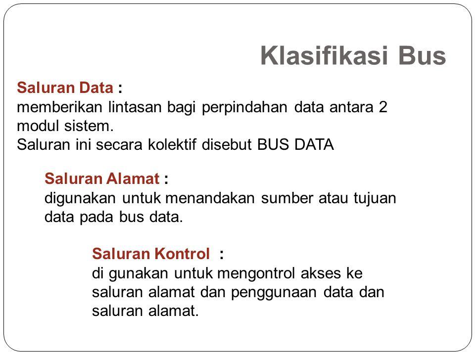 Saluran Data : memberikan lintasan bagi perpindahan data antara 2 modul sistem.