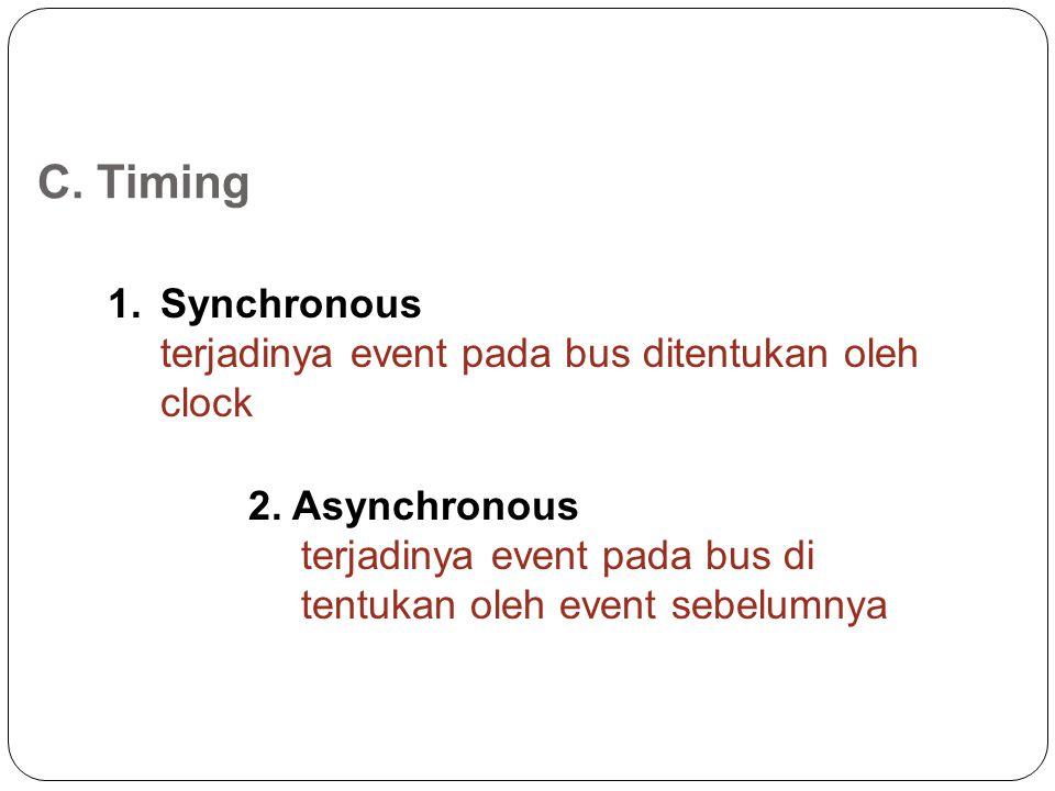 C.Timing 1.Synchronous terjadinya event pada bus ditentukan oleh clock 2.