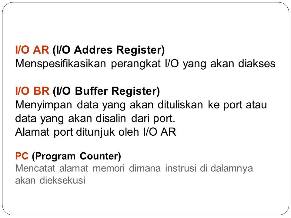 IR (Instruction Register) Menampung instruksi yang akan dilaksanakan AC (Accumulator) Menyimpan data semenatara baik data yang sedang diproses atau data yang hasilkan