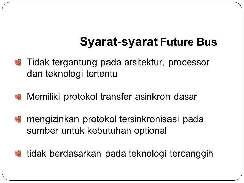 Syarat-syarat Future Bus Tidak tergantung pada arsitektur, processor dan teknologi tertentu Memiliki protokol transfer asinkron dasar mengizinkan protokol tersinkronisasi pada sumber untuk kebutuhan optional tidak berdasarkan pada teknologi tercanggih