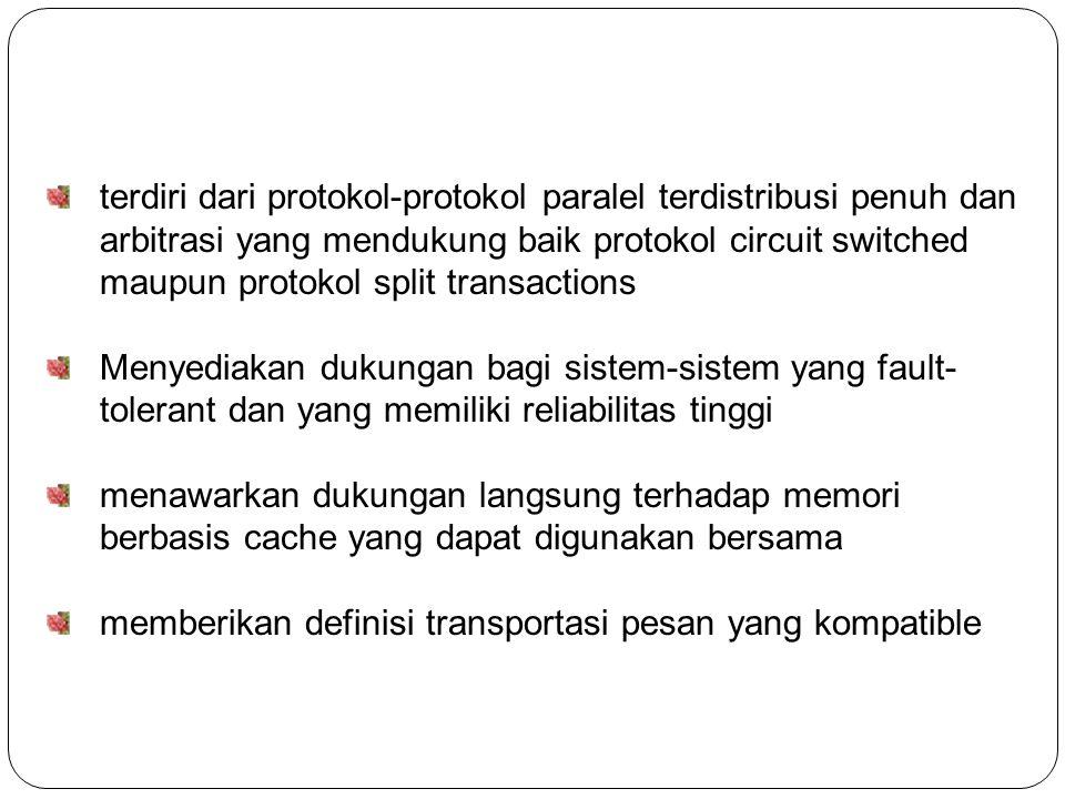 terdiri dari protokol-protokol paralel terdistribusi penuh dan arbitrasi yang mendukung baik protokol circuit switched maupun protokol split transactions Menyediakan dukungan bagi sistem-sistem yang fault- tolerant dan yang memiliki reliabilitas tinggi menawarkan dukungan langsung terhadap memori berbasis cache yang dapat digunakan bersama memberikan definisi transportasi pesan yang kompatible