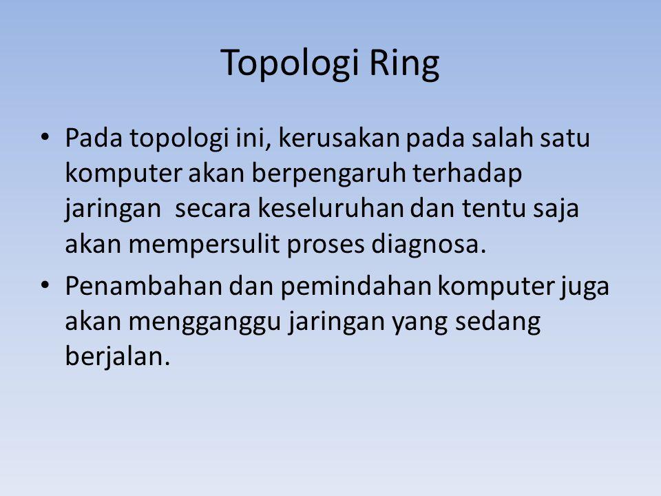 • Pada topologi ini, kerusakan pada salah satu komputer akan berpengaruh terhadap jaringan secara keseluruhan dan tentu saja akan mempersulit proses diagnosa.
