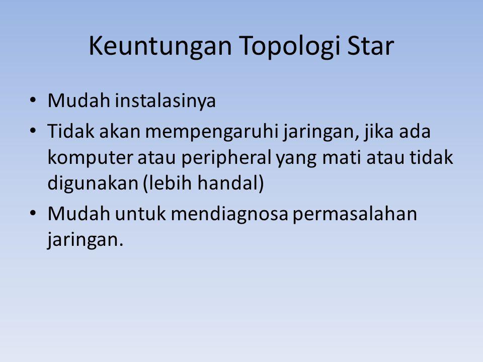 Keuntungan Topologi Star • Mudah instalasinya • Tidak akan mempengaruhi jaringan, jika ada komputer atau peripheral yang mati atau tidak digunakan (lebih handal) • Mudah untuk mendiagnosa permasalahan jaringan.