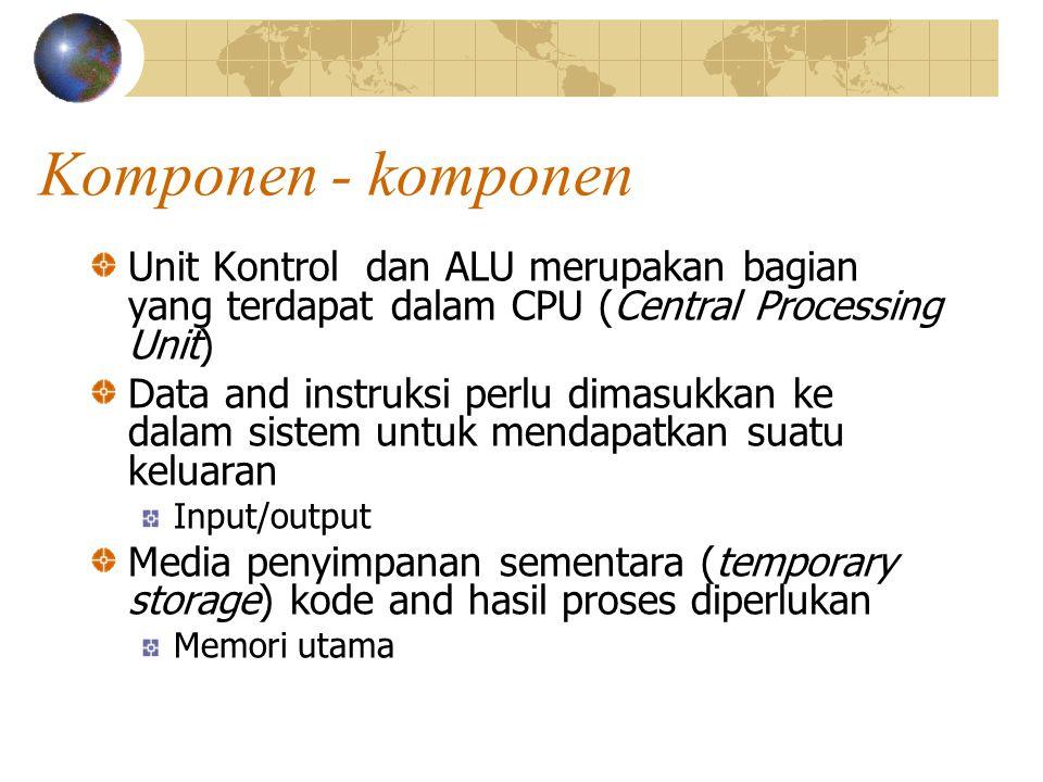 Komponen - komponen Unit Kontrol dan ALU merupakan bagian yang terdapat dalam CPU (Central Processing Unit) Data and instruksi perlu dimasukkan ke dalam sistem untuk mendapatkan suatu keluaran Input/output Media penyimpanan sementara (temporary storage) kode and hasil proses diperlukan Memori utama