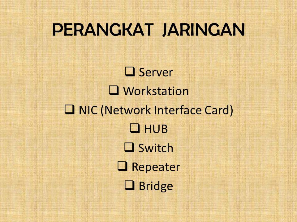 PERANGKAT JARINGAN  Server  Workstation  NIC (Network Interface Card)  HUB  Switch  Repeater  Bridge