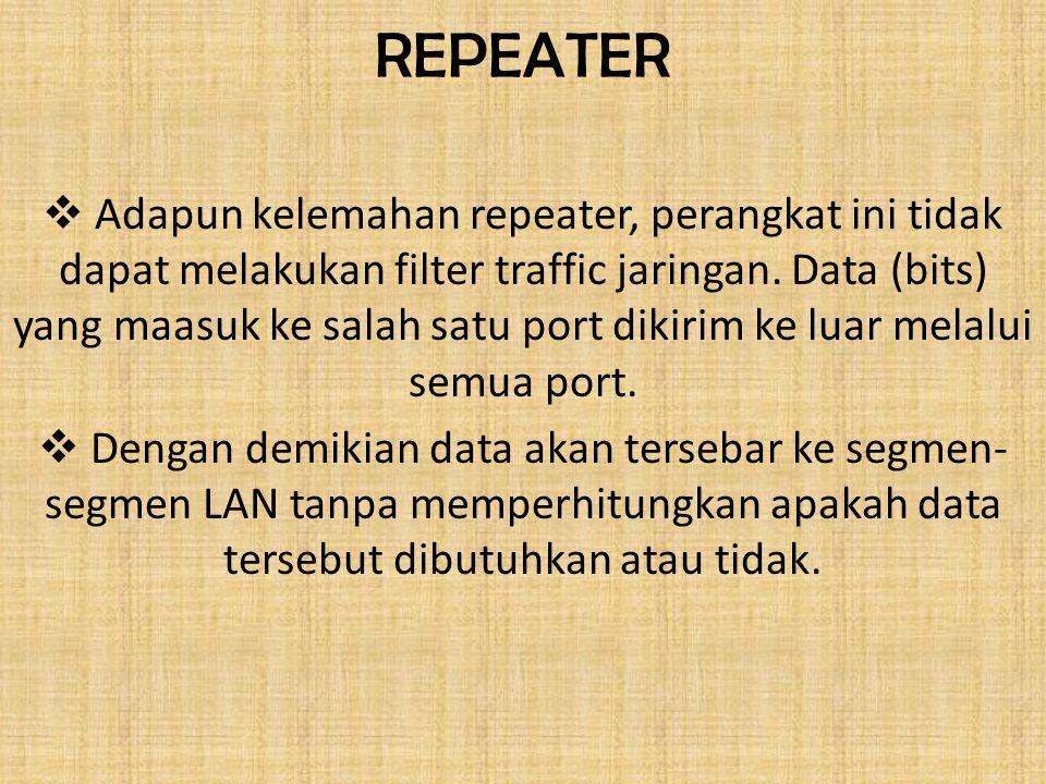 REPEATER  Adapun kelemahan repeater, perangkat ini tidak dapat melakukan filter traffic jaringan. Data (bits) yang maasuk ke salah satu port dikirim