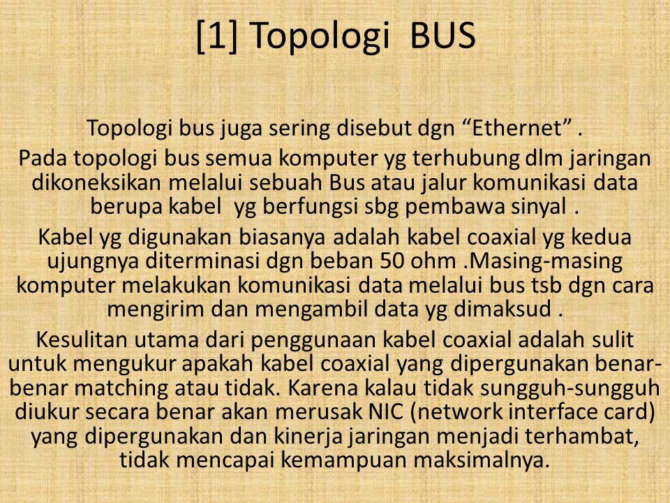 """[1] Topologi BUS Topologi bus juga sering disebut dgn """"Ethernet"""". Pada topologi bus semua komputer yg terhubung dlm jaringan dikoneksikan melalui sebu"""